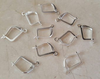 10 hooks clasps sleepers earrings silver plated