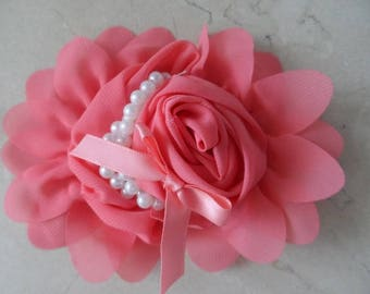1 flower applique coral 13 cm for sewing or craft