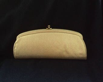 Vintage Gold clutch, wedding bag, elegant gold bag, Gold glittery clutch, oval snap top clasp, retro gold purse, antique gold clutch