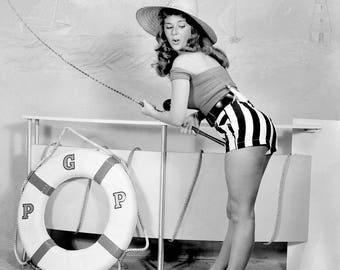 """Poster print Photo Art Pin Up anonymous artist NB - young woman """"Fishing"""""""