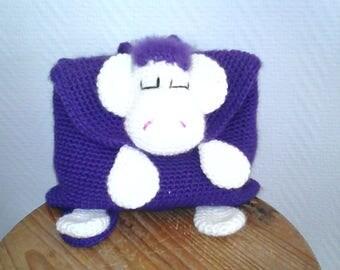 Sac à dos violet crocheter main pour fille