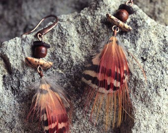 Earrings feathers of Peacock and pheasant, wood beads, seed, stone