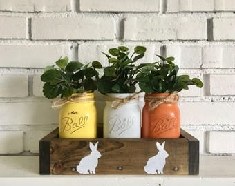 Planter box/Farmhouse table centerpiece/Wooden Planter/Easter table decor/Mason Jar Centerpiece