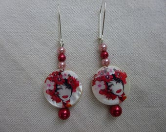 """Earrings red and pink faces """"Women's flowers"""""""