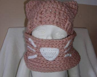 Hat and Snood crochet pink cat child