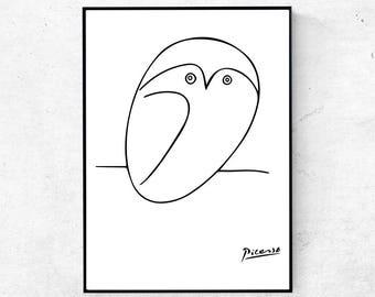 picasso print picasso sketch print picasso wall art pablo picasso sketch owl