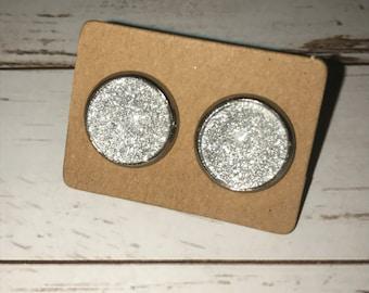 12mm silver shimmer glass dome earrings