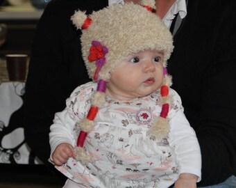 Beige flower fuchsia and orange - beanie baby - girl 2/3/4 months