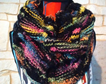 snood knitted multicolor wool handmade