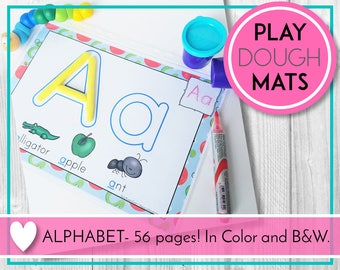 Alphabet Play Dough Mats, Play Doh, ABC Printables, Preschool & Kindergarten Learning, Teaching Education Resource, Kids Activities
