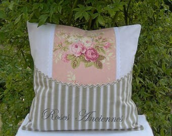 Pillow is romantic and shabby chic cotton ticking and antique roses paint lettering