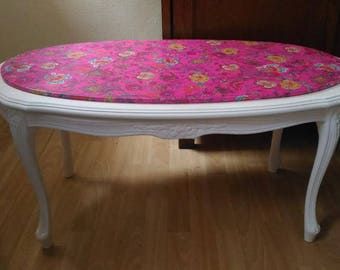 Coffee Table Style Louis Philippe Tray White Fuchsia Floral