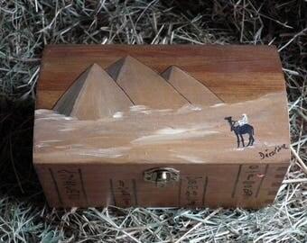 Painted wood box: pyramids