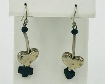 Silver Heart Dangles with Cross and Heart
