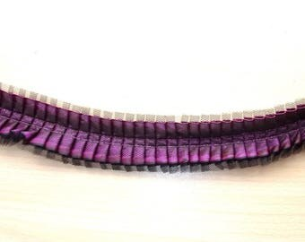 4 meters of pleated satin ribbon and tulle coloiris plum and black REF. 1828