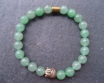Bronze bracelet yoga namaste, man or woman, aventurine beads and metal beads