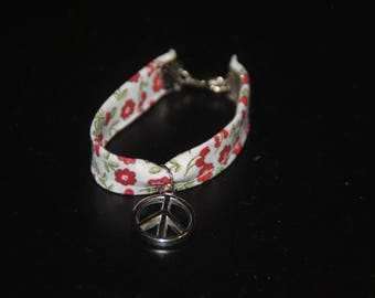 Kids fabric strap with charm Peace & Love
