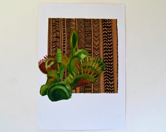 Venus flytrap painting on appropriated paper