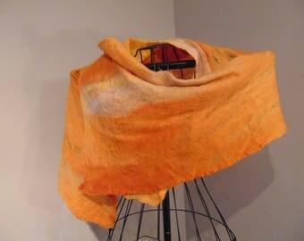 Hand Felted Wrap - Sunset - Orange/Yellow