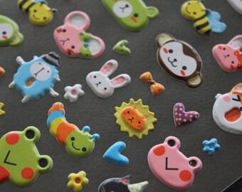 1 sheet of Kawaii Stickers - pattern animals (59 stickers/sheet)