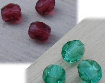 water green faceted Crystal beads [4mm] x 10 / Fuchsia Red