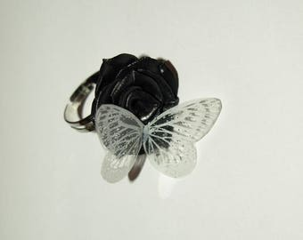 """The butterfly Ring """"pink black and white"""" for the challenge of the month of February"""