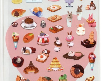 Rabbit Bunnies and Bakery Pastry Cake themed scrapbook planner diary journal stickers