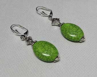 Light green faux turquoise earrings