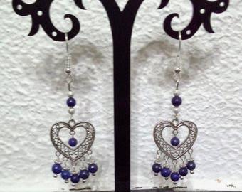 Heart filigree earrings and genuine lapis lazuli beads