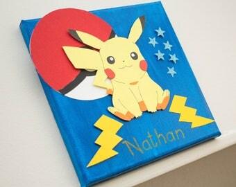 "Custom decorative painting ""Pokeball with Pikachu"""