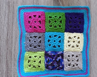 Large square crochet cushion