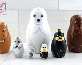 Northern Animals Matryoshka set of 7 pcs Stacking Wooden Russian Nesting Dolls