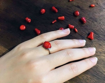 Red turquoise and silver ring