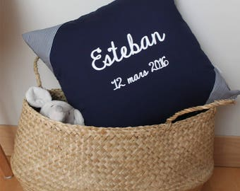Navy Blue personalized pillows and corners with stripes