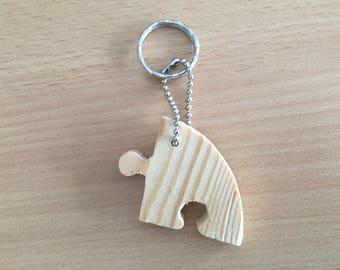 Wooden puzzle piece keychain