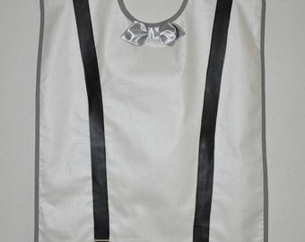 Adult bib waterproof white man, Silver Bow and black straps