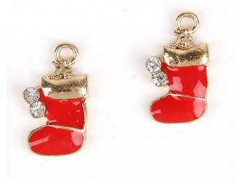 Set of 5 charms red Christmas boots
