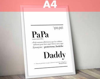"""Definition of """"Dad"""" - A4 size poster: 21 x 29.7 cm"""