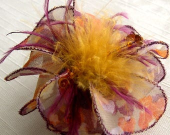 Small hair clip flower fabric & feathers and pearls 056