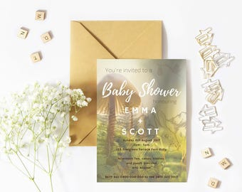 Woodland Whimsical Baby Shower Invite-Custom