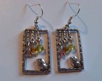 Frame nature bird earrings