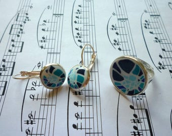 Set ring and fancy Earrings: Blue mosaic