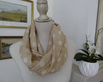 Beige Snood with off white dots linen look