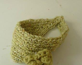 handmade lime green knit child headband
