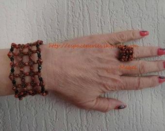 Crystal swarovski and glass bead, Brown and black Cuff Bracelet, wedding