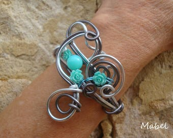 Turquoise flower bracelet, silver and grey, adjustable aluminum wire, wedding