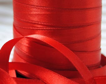 10 mm, different colors, Red satin ribbon