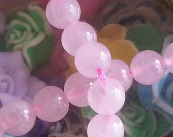 10 diameter 8 mm rose quartz beads, hole 1 mm