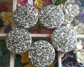 10 acrylic beads, imitation leopard skin, flat round, olive, 41 x 7 mm, hole: 2 mm