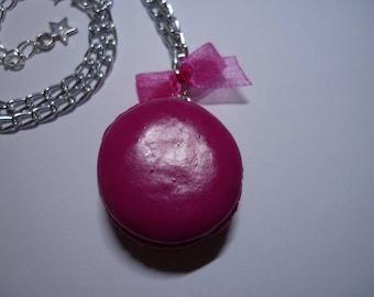 Necklace - Macaron fuchsia Fimo